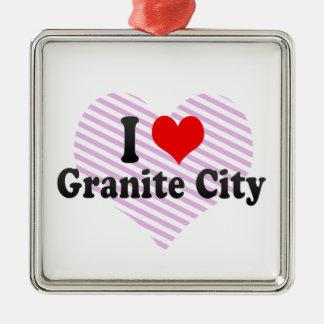 I Love Granite City, United States Christmas Ornaments