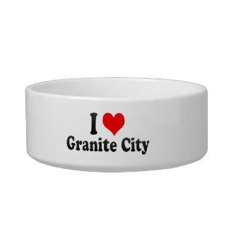 I Love Granite City, United States Cat Food Bowl