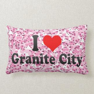 I Love Granite City, United States Throw Pillows