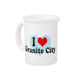 I Love Granite City, United States Beverage Pitcher