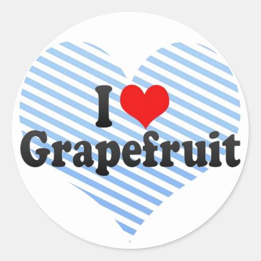 I Love Grapefruit Classic Round Sticker