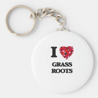 I Love Grass Roots Basic Round Button Keychain