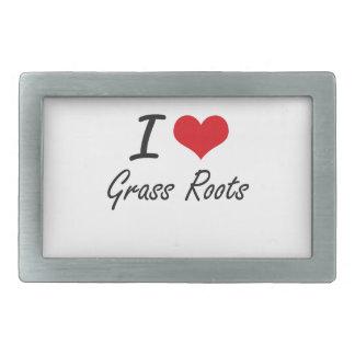 I love Grass Roots Rectangular Belt Buckle