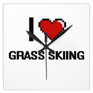 I Love Grass Skiing Digital Retro Design Square Wall Clocks