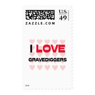 I LOVE GRAVEDIGGERS POSTAGE STAMPS