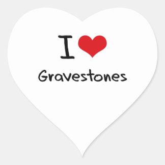 I Love Gravestones Heart Sticker