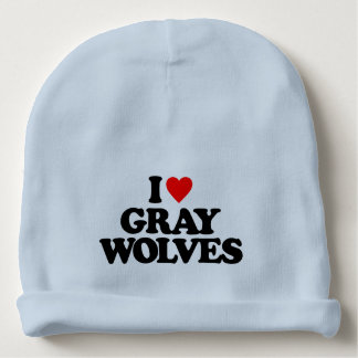 I LOVE GRAY WOLVES BABY BEANIE