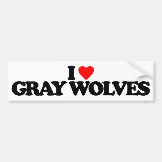 I LOVE GRAY WOLVES BUMPER STICKER