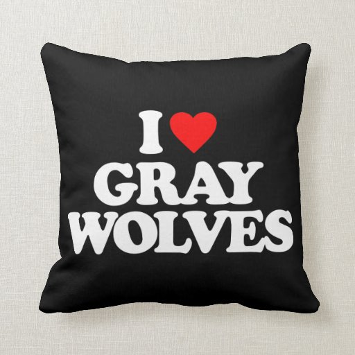 I LOVE GRAY WOLVES THROW PILLOWS