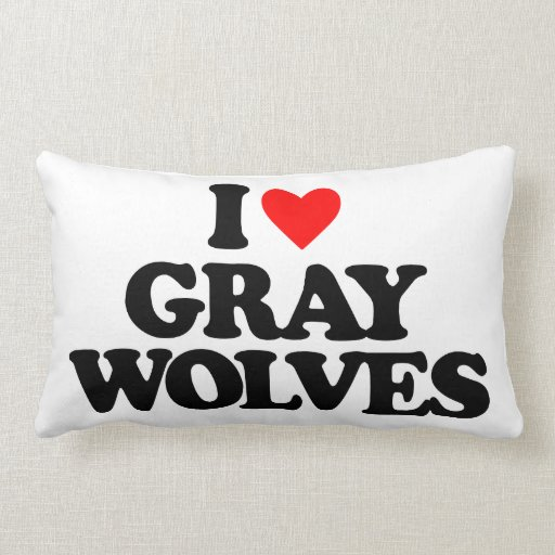 I LOVE GRAY WOLVES THROW PILLOW