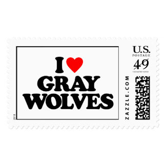 I LOVE GRAY WOLVES POSTAGE STAMPS