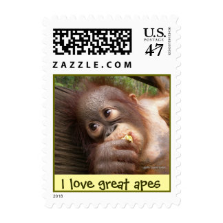 I Love Great Apes Postage Stamp