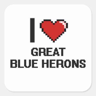 I love Great Blue Herons Digital Design Square Sticker