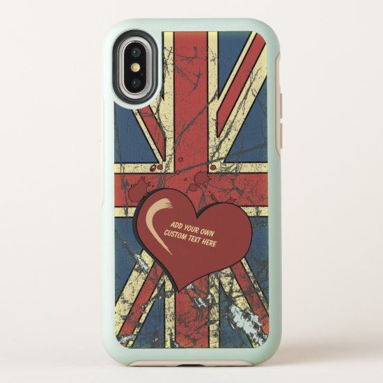I Love Great Britain Distressed Flag OtterBox Symmetry iPhone X Case