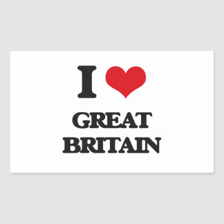 I love Great Britain Rectangular Sticker