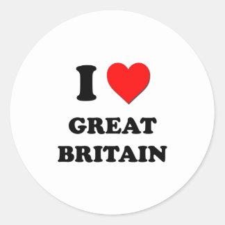 I Love Great Britain Round Stickers