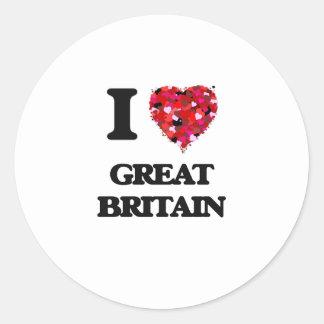 I Love Great Britain Classic Round Sticker