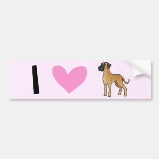 I Love Great Danes Bumper Sticker