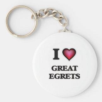 I Love Great Egrets Keychain