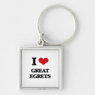 I love Great Egrets Key Chain