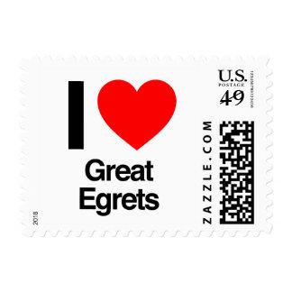 i love great egrets stamp