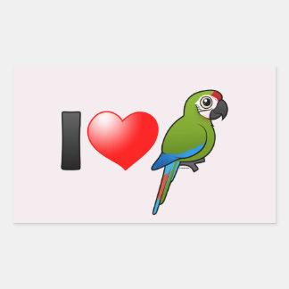 I Love Great Green Macaws Rectangular Sticker