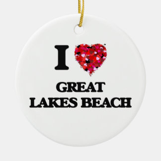 I love Great Lakes Beach Michigan Double-Sided Ceramic Round Christmas Ornament