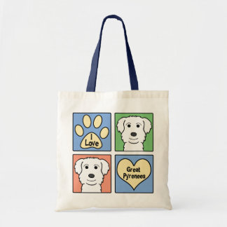 I Love Great Pyrenees Canvas Bags