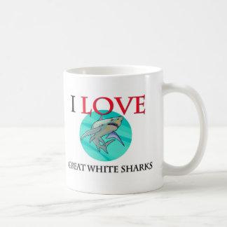 I Love Great White Sharks Classic White Coffee Mug