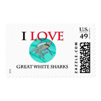 I Love Great White Sharks Postage