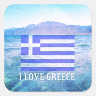 I Love Greece Square Sticker