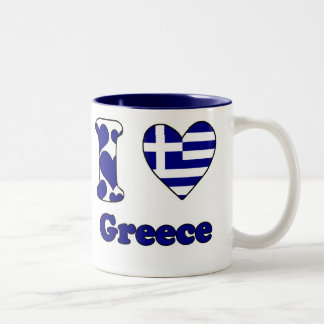 I love Greece Two-Tone Coffee Mug