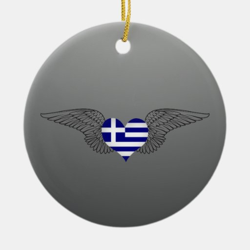 I Love Greece -wings Double-Sided Ceramic Round Christmas Ornament
