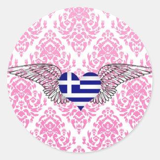 I Love Greece -wings Round Sticker