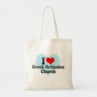 I love Greek Orthodox Church Canvas Bags