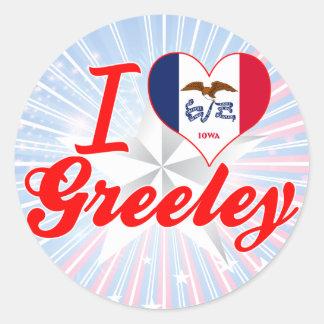 I Love Greeley, Iowa Classic Round Sticker