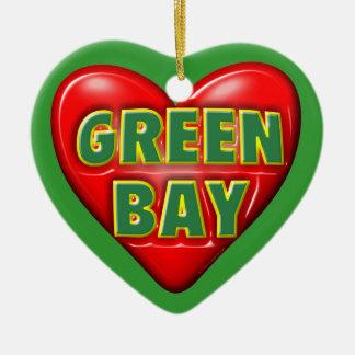 I Love Green Bay Ceramic Ornament