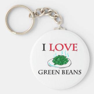 I Love Green Beans Basic Round Button Keychain