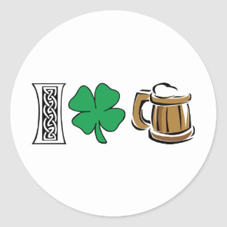I Love Green Beer Classic Round Sticker