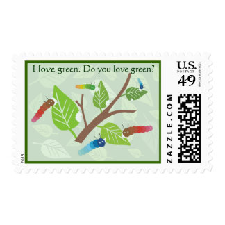 I love green. Do you love green? stamp. Postage