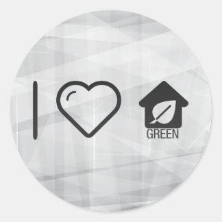 I Love Green Homes Classic Round Sticker