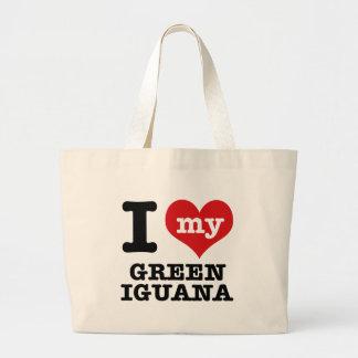 I love Green Iguana Tote Bag