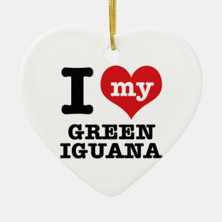 I love Green Iguana Ceramic Ornament