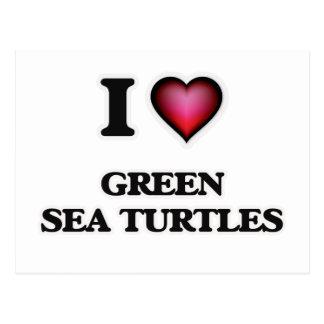 I Love Green Sea Turtles Postcard