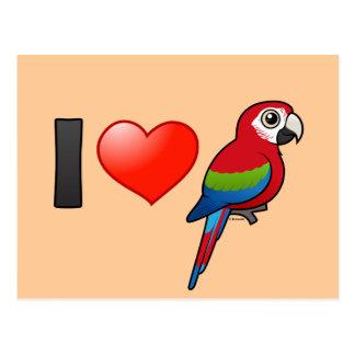 I Love Green-winged Macaws Postcard