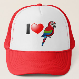 I Love Green-winged Macaws Trucker Hat