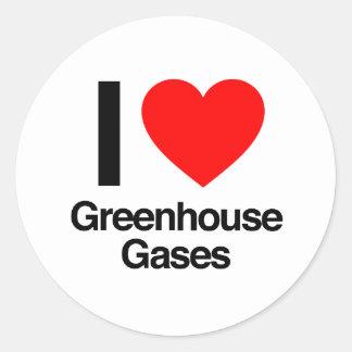 i love greenhouse gases classic round sticker