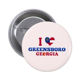 I Love Greensboro, Georgia Pinback Buttons