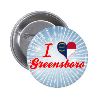 I Love Greensboro, North Carolina Pins