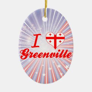 I Love Greenville, Georgia Double-Sided Oval Ceramic Christmas Ornament